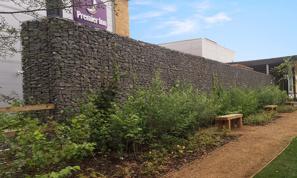 Premier Inn Uxbridge Welded Gabion Mass Gravity Freestanding Wall Portfolio