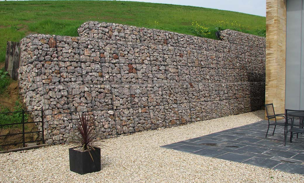 The Farmyard Longcroft House Welded Mass Gravity Gabion Retaining Walls Portfolio