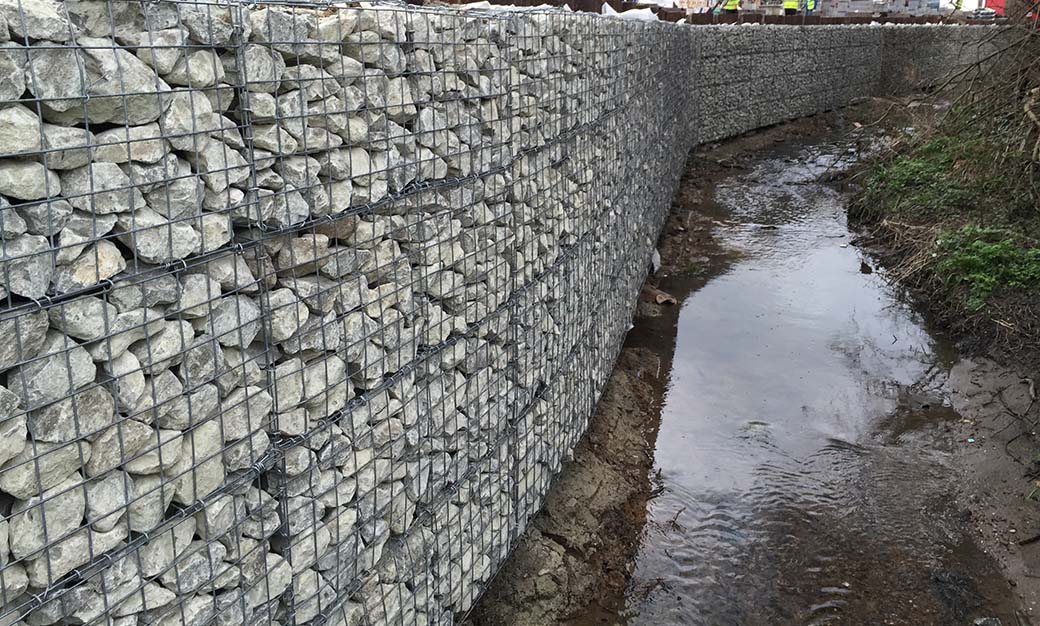 Walthamstow Stadium Welded Gabion Architectural Cladding to Sheet Piles Portfolio